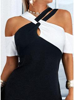 Trozos de color Cubierta Mangas 1/2 Mini Casual Elegante Vestidos de moda