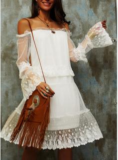 Blonder Solid Skiftekjoler Lange ærmer Midi Den lille sorte Casual Ferie Tunika Mode kjoler
