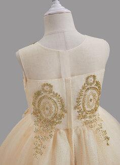 Gallakjole/Prinsesse Rund-halsudskæring Gulvlængde med Perlebesat Tyl Blomsterpigekjole
