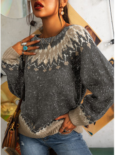 Round Neck Casual Print Sweaters