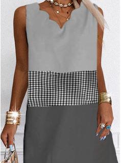 Trozos de color Tela escocesa Impresión Vestidos sueltos Sin mangas Mini Casual Vacaciones Franelilla Vestidos de moda