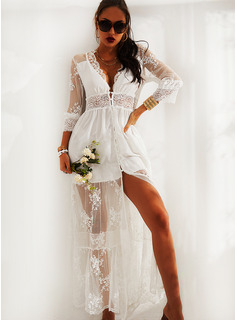 Lace Solid A-line 3/4 Sleeves Maxi Elegant Skater Dresses