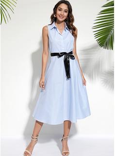 Midi Cuello de camisa poliéster/Mezcla Arruga Sin mangas Vestidos de moda