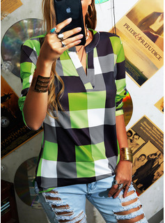 Blocchi di colore Scollatura a V Maniche lunghe Casuale Camicie