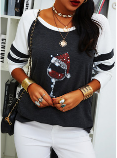 Color Block Print Sequins Round Neck Long Sleeves Casual Christmas T-shirt