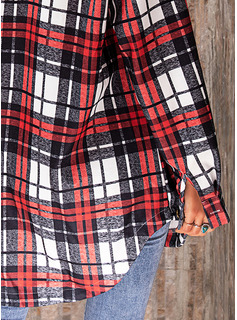 Plaid Lapel Lange ærmer Button-up Casual Shirt Skjorter