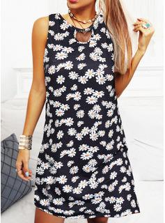 Floral Print Sheath Sleeveless Mini Casual Vacation Dresses