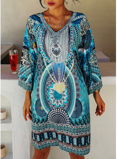 Print Shift 3/4 Sleeves Mini Boho Casual Vacation Tunic Dresses