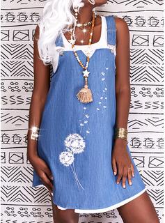 Impresión Vestidos sueltos Sin mangas Midi Casual Vestidos de moda