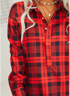 Plaid Skiftekjoler Lange ærmer Mini Casual Tunika Mode kjoler