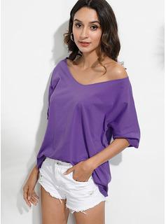 Solid Korte ærmer Polyester V-hals T-shirt Bluser