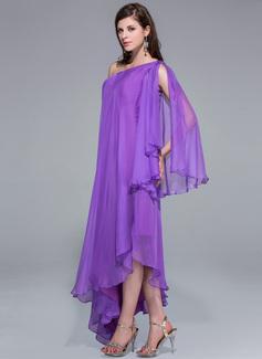 A-Line One-Shoulder Asymmetrical Chiffon Evening Dress
