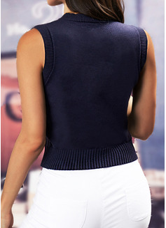 Cuello Redondo Casual Impresión Suéteres