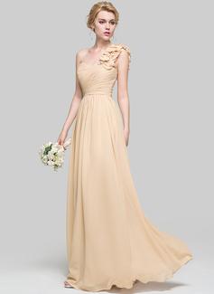 A-Linie/Princess-Linie Eine Schulter Bodenlang Chiffon Brautjungfernkleid mit Rüschen Blumen