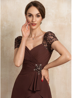 A-Line Sweetheart Asymmetrical Chiffon Lace Cocktail Dress With Beading Cascading Ruffles