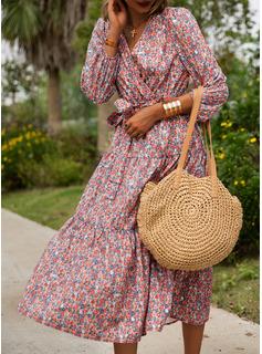 Blomster Kjole med A-linje 1/2 ærmer Midi Casual Ferie skater Mode kjoler