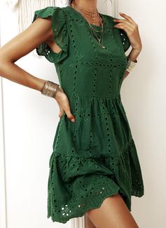 Solid A-line kjole Kortermer Midi Avslappet skater Motekjoler