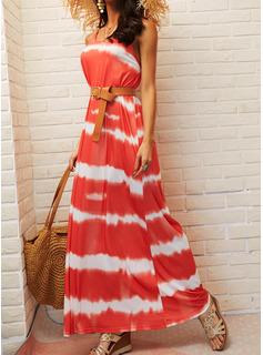 Tie Dye Kjole med A-linje Ærmeløs Maxi Casual Ferie skater Typen Mode kjoler