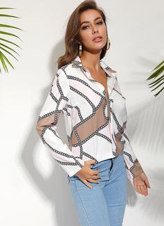 Wydrukować Długie rękawy Poliester Lapel Koszula Bluzki Bluzki