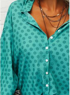 Impresión Cuello en V Mangas 3/4 Con Botones Casual Camisas Blusas