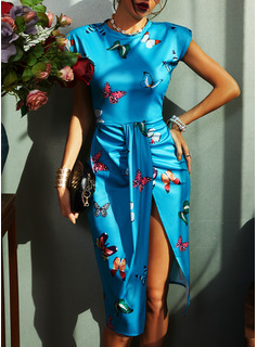 Hayvan baskı Conică Kolsuz Midi Zarif Moda Elbiseler