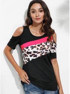 Leopard Color Block Kall axel Korta ärmar Fritids Blusar