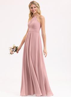A-Line Scoop Neck Floor-Length Chiffon Bridesmaid Dress With Bow(s) Cascading Ruffles