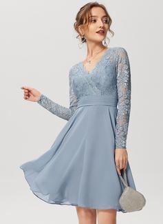 V шеи кружевной Коктейльные Платье