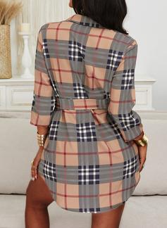 Plaid Skiftekjoler Lange ærmer Mini Casual Skjorte Mode kjoler