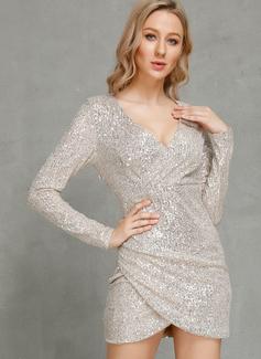 Bodycon V-Neck Polyester Dresses