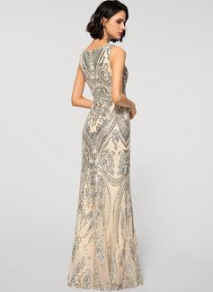 Sheath/Column V-neck Floor-Length Tulle Sequined Evening Dress