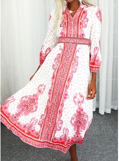 Blomster Polkaprik Print Kjole med A-linje Lange ærmer Maxi Boho Casual skater Mode kjoler