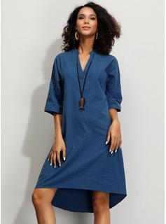 knælange V-hals Bomuld Solid 1/2 Ærmer Mode kjoler