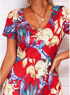 フローラル 印刷 シースドレス 半袖 ミディ カジュアル 休暇 ファッションドレス