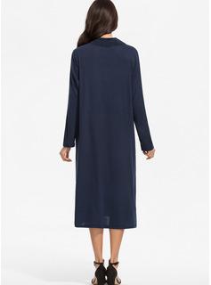 固体 シフトドレス 長袖 マキシ ミディ カジュアル ファッションドレス