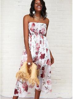 Floral Print A-line Sleeveless Asymmetrical Casual Skater Dresses