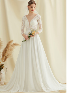 A-Line V-neck Court Train Chiffon Lace Wedding Dress