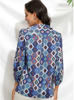 Print 3/4 Ærmer Polyester V-hals Shirt Skjorter Bluser