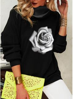 Floral Print Long Sleeves Hoodie
