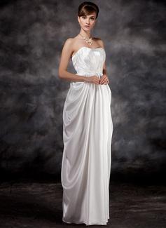 Robe Empire Amoureux Longueur ras du sol Charmeuse Robe de demoiselle d'honneur - enceinte avec Plissé