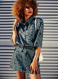 Leopard Skede 1/2 ærmer Mini Casual Mode kjoler
