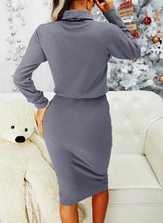 Sólido Bodycon Manga Comprida Midi Vestido Preto Casual Lápis Vestidos na Moda