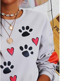 Animalske Udskriv Rund hals Lange ærmer Sweatshirts