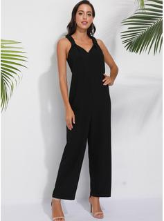 Strap Polyester Solid Uden Ærmer Solid Mode kjoler