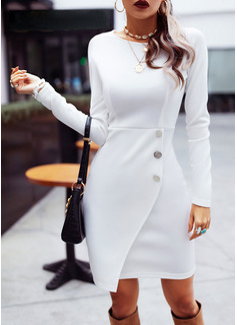 Pevný Pouzdrové Dlouhé rukávy Midi Neformální Módní šaty