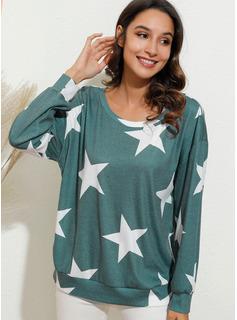 Print Lange ærmer Polyester One-Shoulder T-shirt Bluser