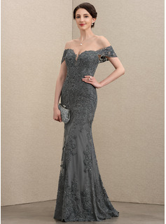 Trumpet/Mermaid Off-the-Shoulder Floor-Length Tulle Lace Mother of the Bride Dress With Sequins