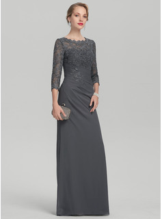 Sheath/Column Scoop Neck Floor-Length Chiffon Lace Mother of the Bride Dress With Ruffle