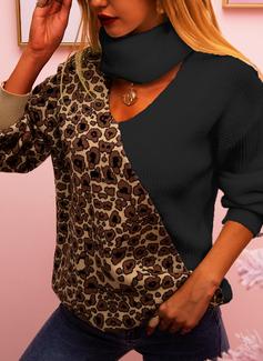 Turtleneck Casual Leopard Color Block Sweaters