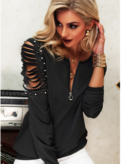 Beaded Solid V-Neck Long Sleeves Casual Blouses